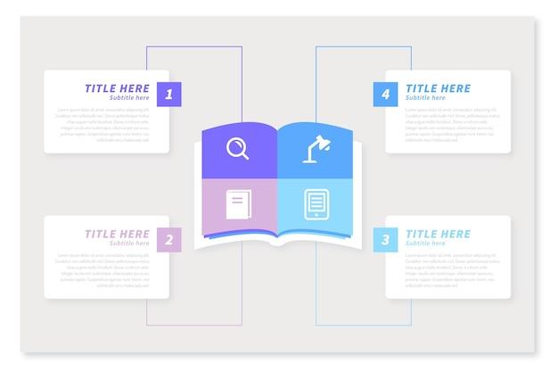 Концепция плоской книги инфографики Бесплатные векторы