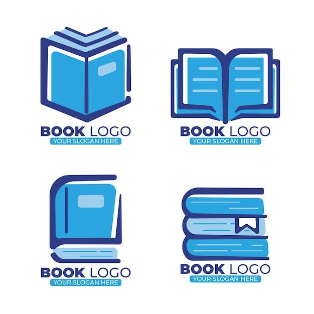 Коллекция логотипов плоских книг с лозунгом Premium векторы