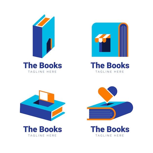 Коллекция логотипов плоских книг Бесплатные векторы