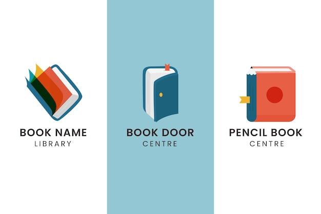 Плоский книжный логотип Бесплатные векторы