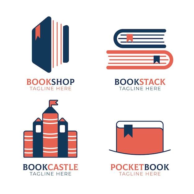 Набор шаблонов логотипов плоских книг Бесплатные векторы