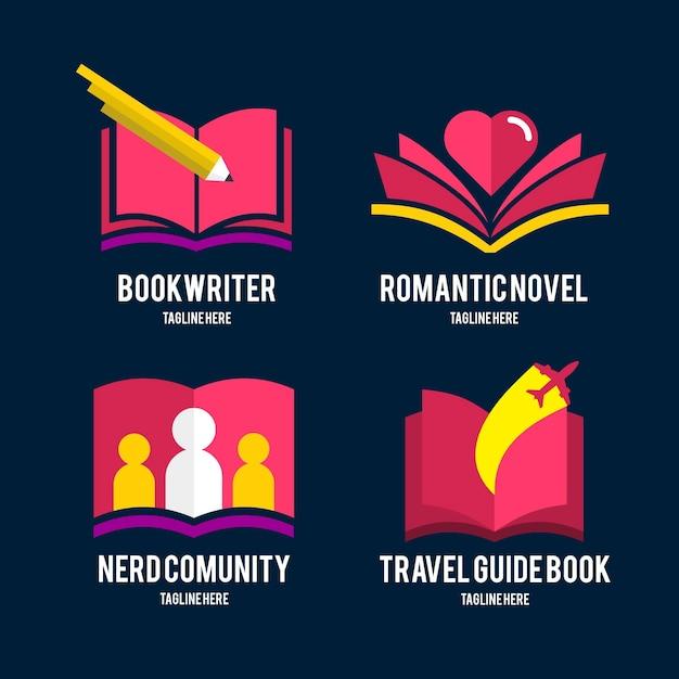Шаблоны логотипов плоских книг Premium векторы