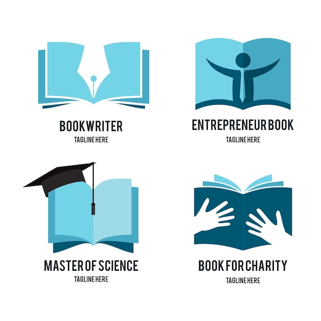Flat book universe logo pack Free Vector