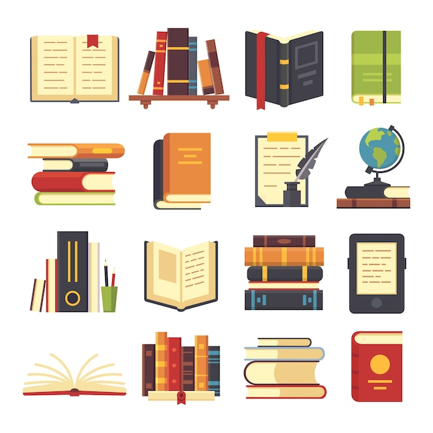 Flat books icons Premium Vector