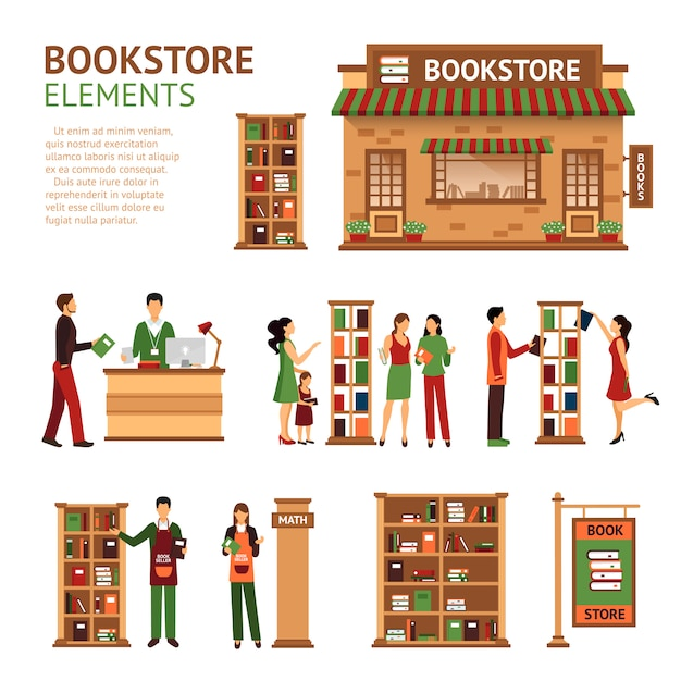 Flat bookstore elements images set Free Vector