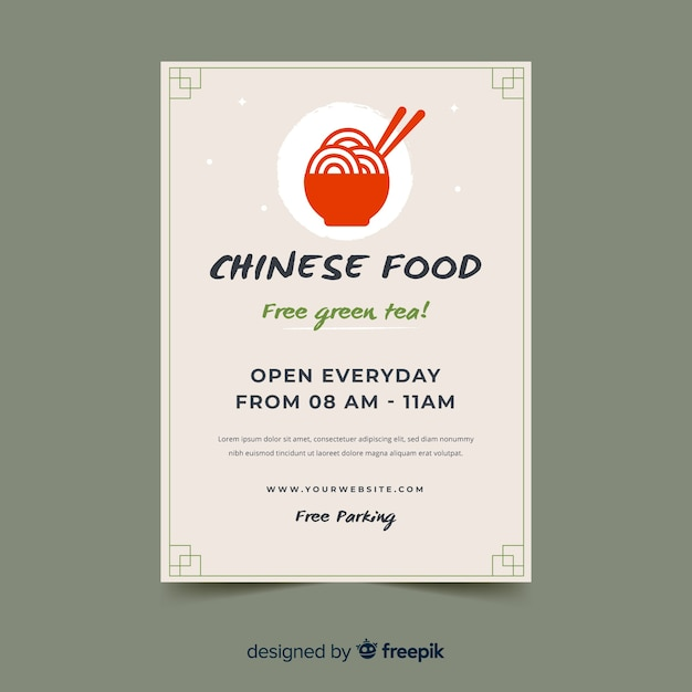 Flat bowl chinese food flyer template Free Vector