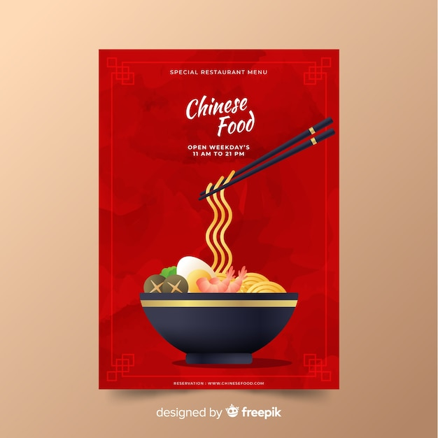 Flat bowl chinese food flyer Free Vector