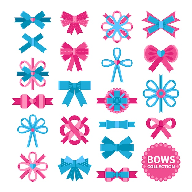 Flat bows collection Free Vector