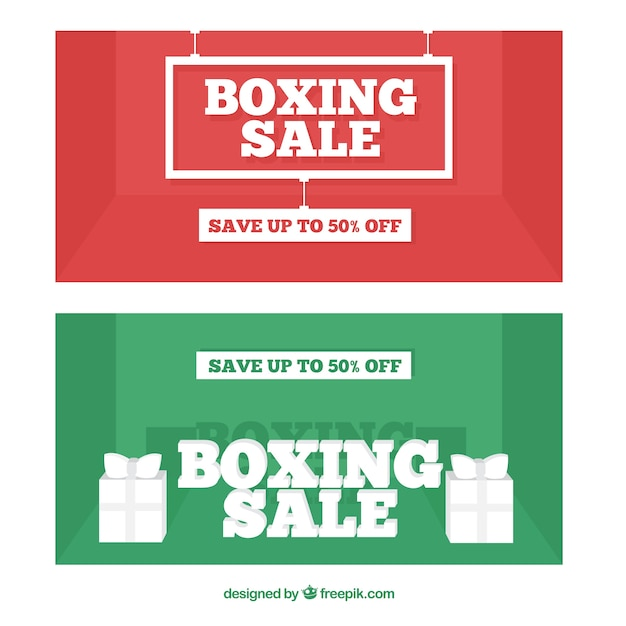 Flat boxing day banners with great\ discounts