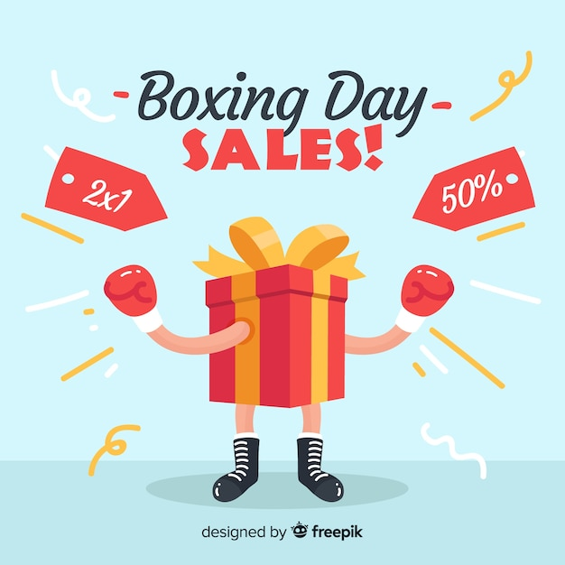 Flat boxing day sale background Free Vector