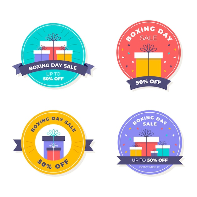 Flat boxing day sale badge collection Free Vector