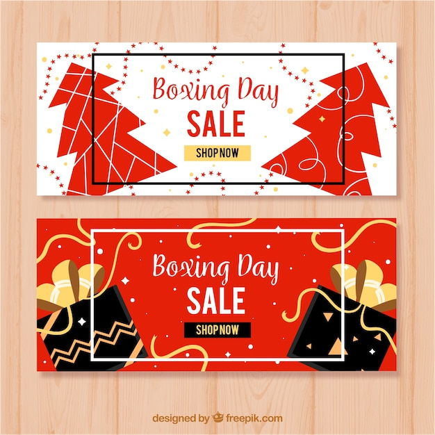 Flat Boxing Day Sale Banners In Red And White Free Vector