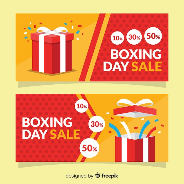Flat boxing day sale banners Free Vector