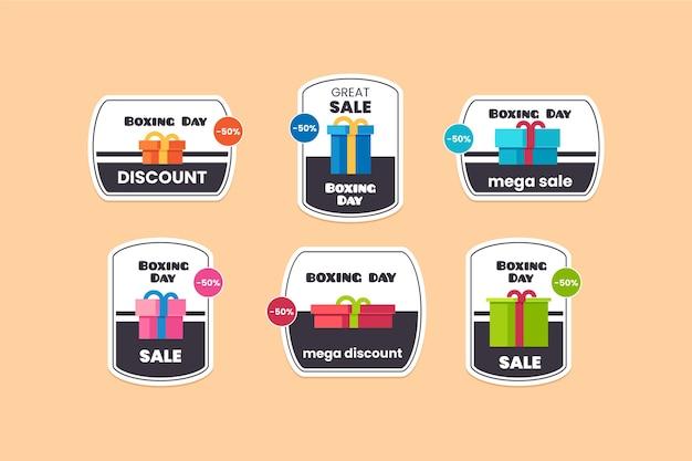 Collezione di etichette di vendita piatto boxing day Vettore gratuito