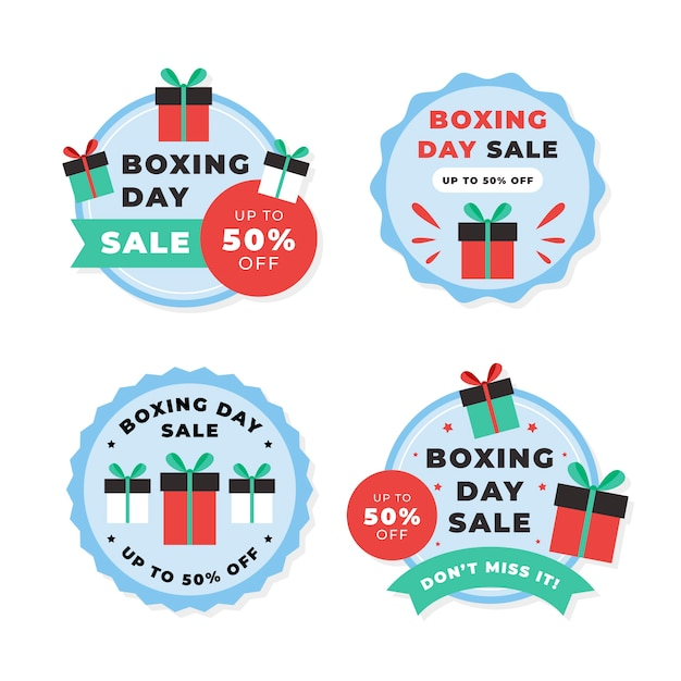 Flat boxing day sale label collection Free Vector
