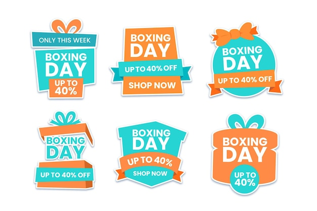 Flat boxing day sale label pack Free Vector