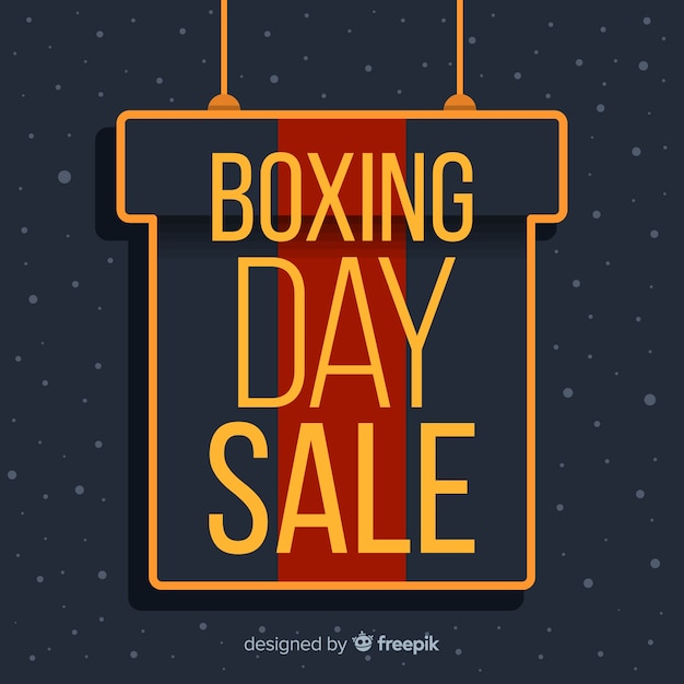 Flat boxing day sale with gift box hanging Free Vector