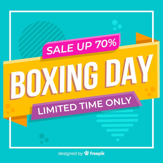 Flat boxing day sale with memphis effect Free Vector