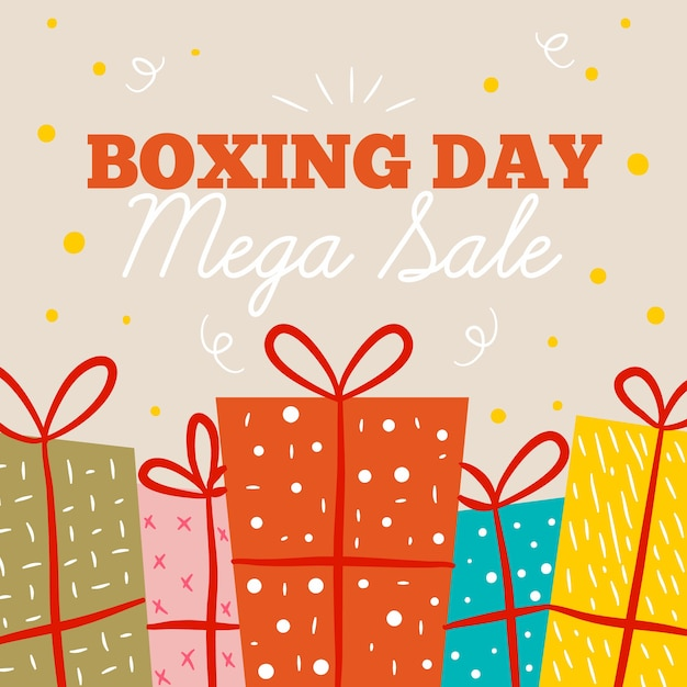 Flat boxing day sale with wrapped gifts Free Vector