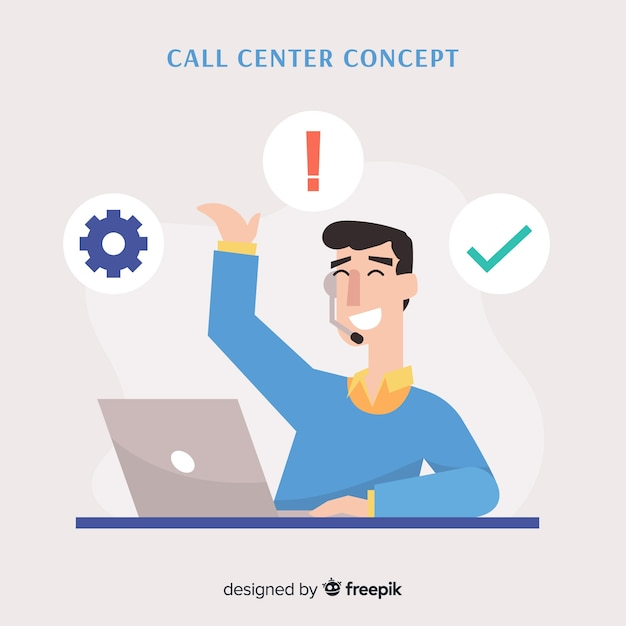 Flat boy working in a call center background Free Vector