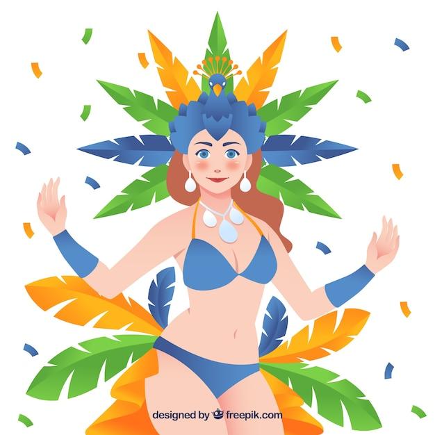 Flat brazilian carnival background with samba\ dancer illustration