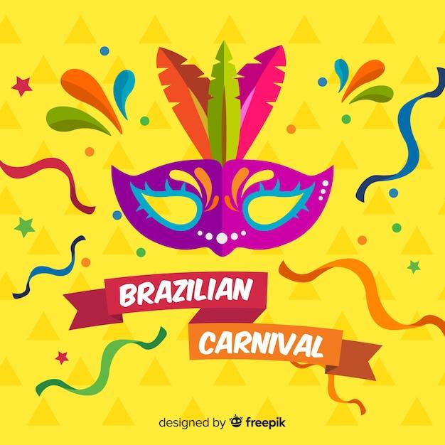 Flat brazilian carnival background Free Vector