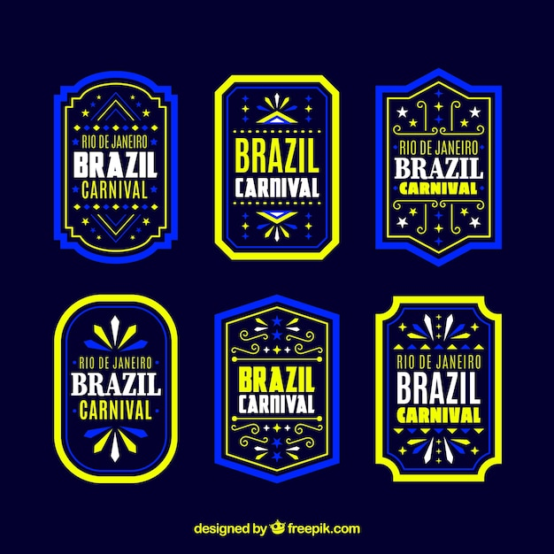 Flat brazilian carnival label/badge collection Free Vector