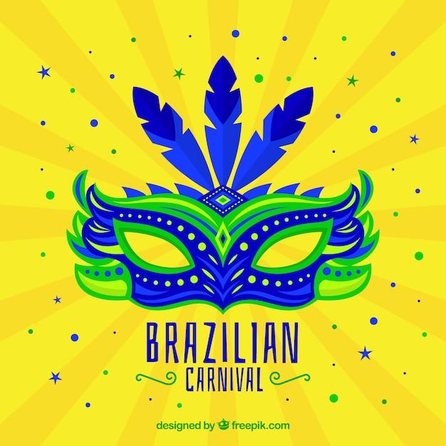 Flat brazilian carnival mask  Free Vector