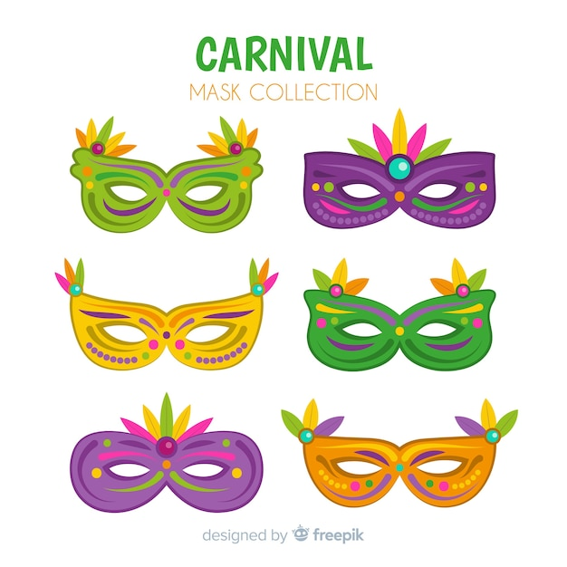 Flat brazilian carnival masks pack Free Vector