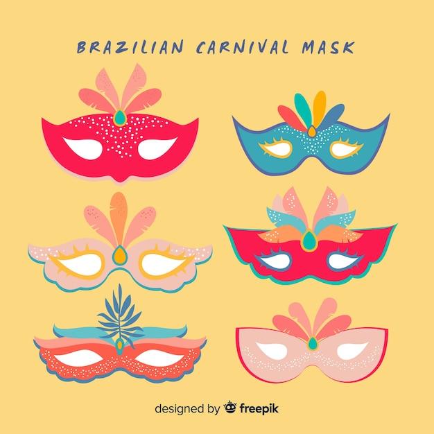Flat brazilian carnival masks pack Free Vector