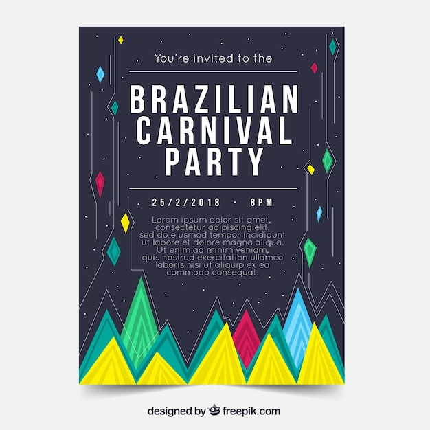 Flat brazilian carnival party flyer/poster template Free Vector
