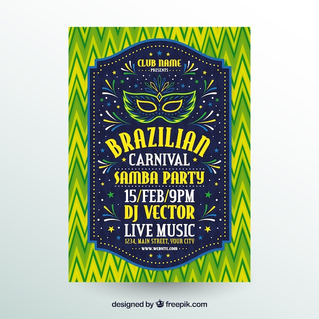 Flat brazilian carnival party flyer/poster Free Vector