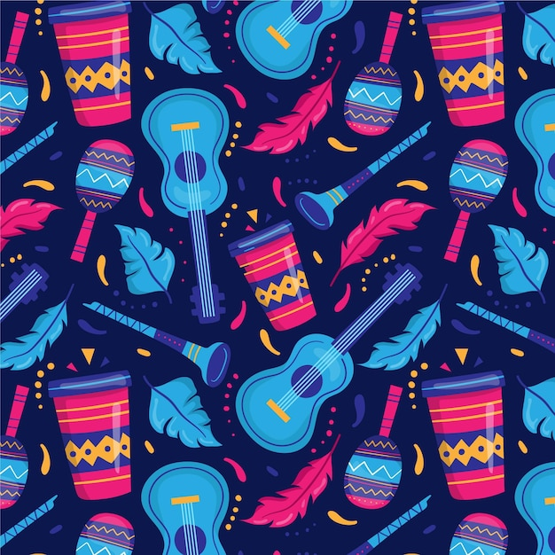 Flat brazilian carnival pattern with instruments Free Vector