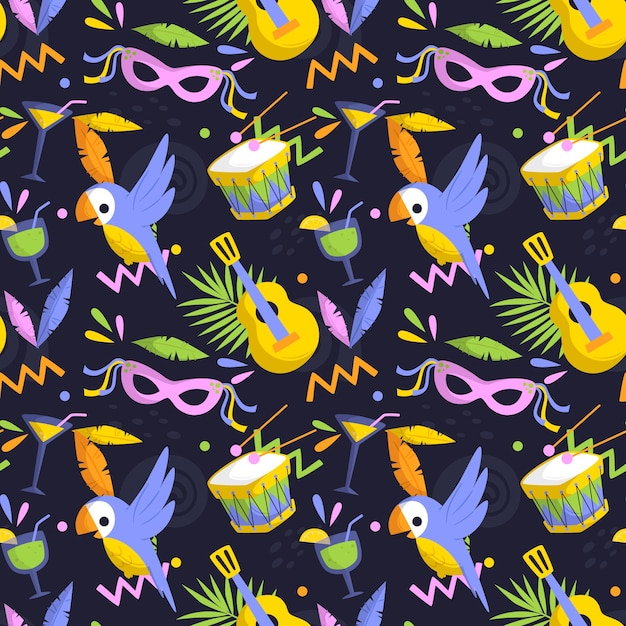 Flat brazilian carnival pattern with masks and birds Free Vector