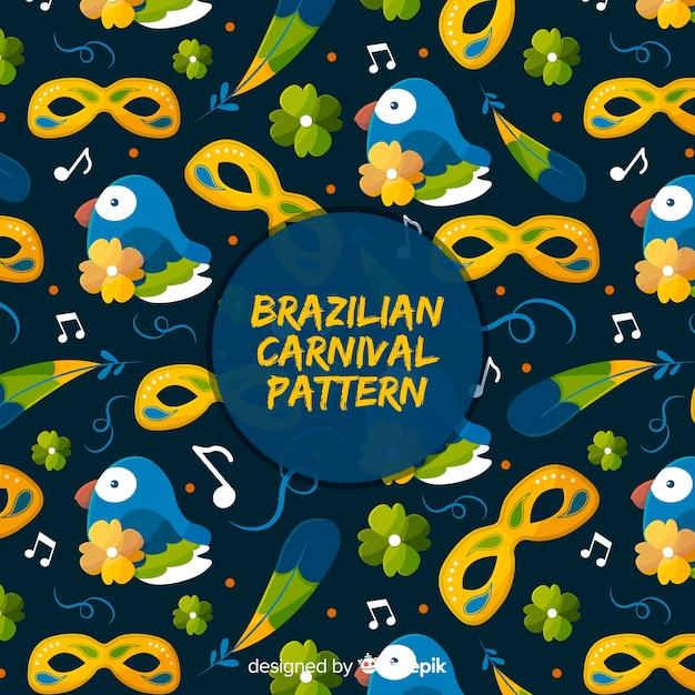 Flat brazilian carnival pattern Free Vector