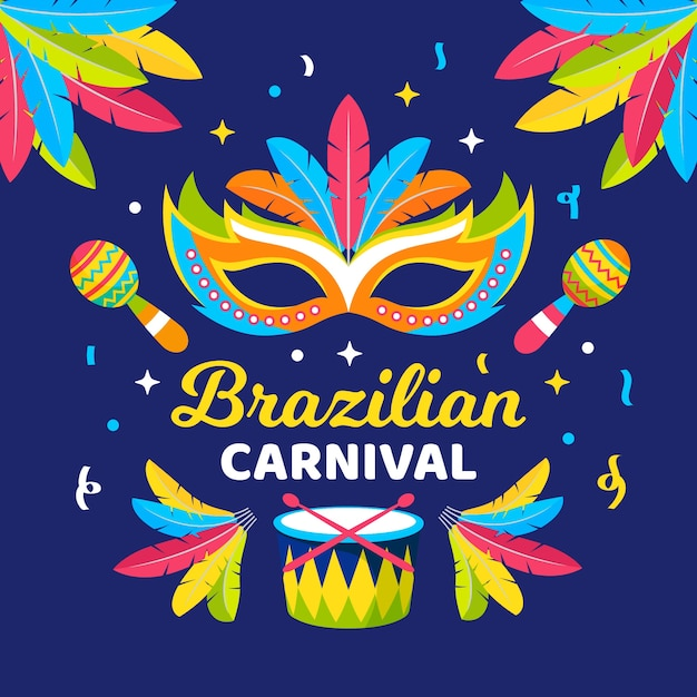 Flat brazilian carnival with masks and musical instruments Free Vector
