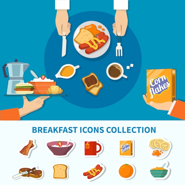 Flat breakfast icons collection Free Vector