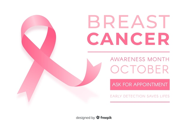 Flat breast cancer awareness with ribbon Free Vector