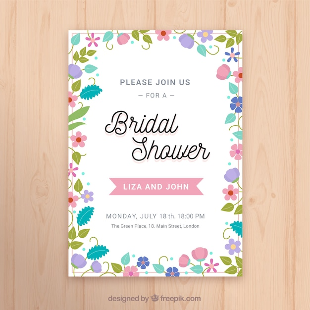 Flat bridal shower invitation template with colored flowers Vector – Wedding Shower Invitation Template Free