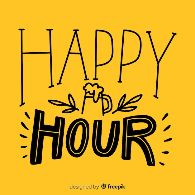 Flat bright design happy hour lettering with icons Free Vector