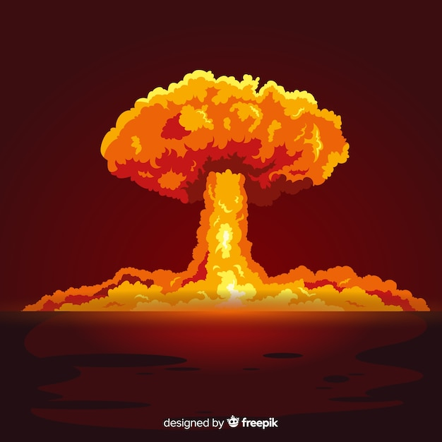 Flat bright nuclear explosion effect Vector | Free Download