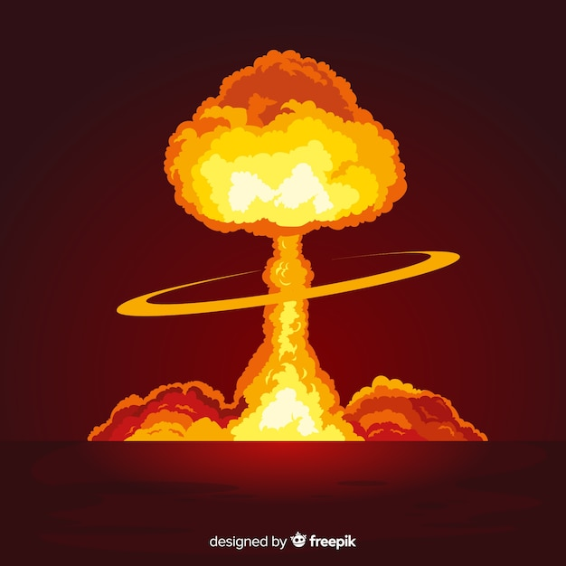 Flat bright nuclear explosion effect Free Vector