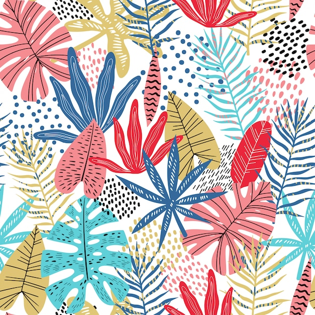 Flat bright tropical leaves seamless pattern Premium Vector