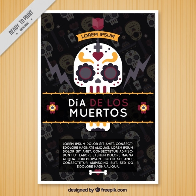 Flat brochure with a mexican skull for the day of the dead Free Vector