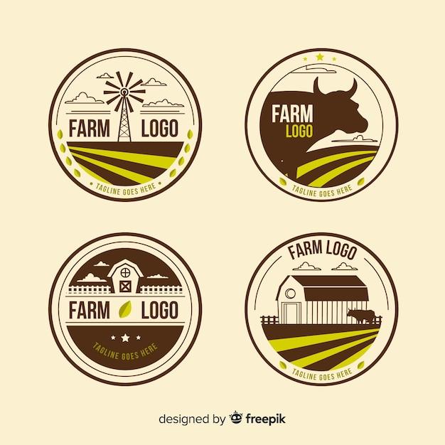 Flat brown farm logo collection Free Vector