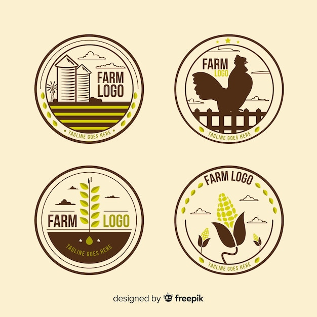 Flat brown farm logo collection Free Vector