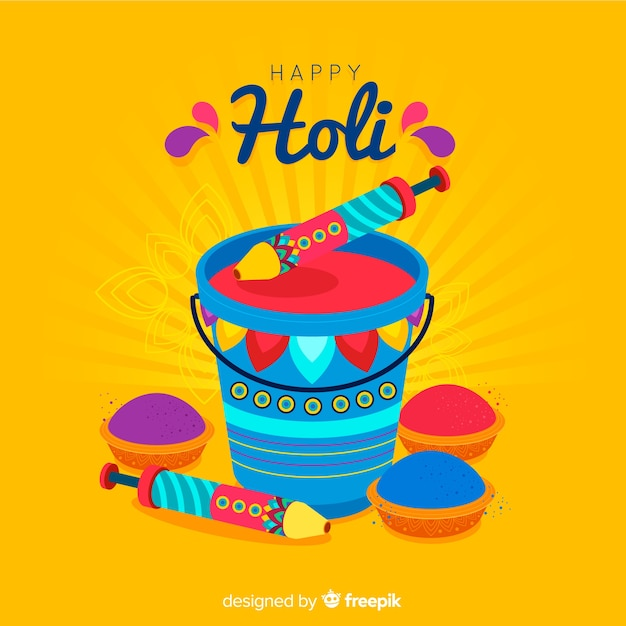 Flat bucket holi background Free Vector