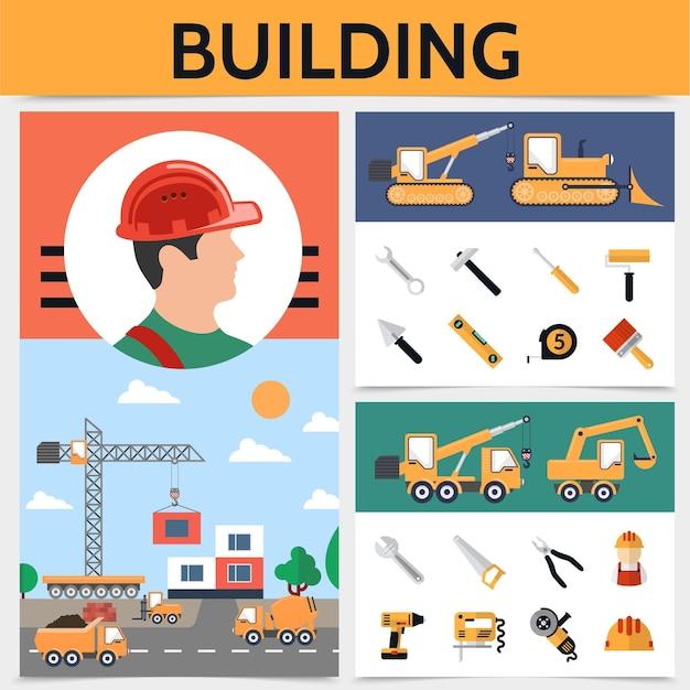 Concetto di industria edile piana con illustrazione di strumenti e attrezzature per veicoli da costruzione costruttore Vettore gratuito