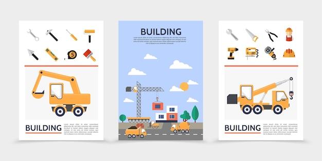 フラット建築業界のポスター 無料ベクター