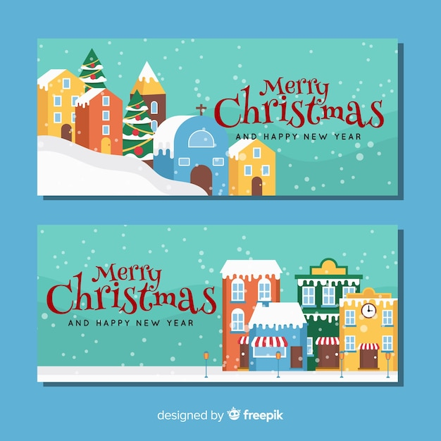 Flat buildings christmas town banner Free Vector